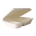 9x6x2.5'' 34 oz 2-Compt. Biodegradable Compostable Bagasse Sugarcane Clamshell (250/case) ON SALE!!!