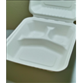 Biodegradable Compostable 8x8x3 Sugarcane 3-Compartment Clamshell (200/case)