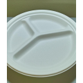 10'' 3-Compartment Biodegradable Compostable Bagasse Sugar Cane Plates (500/case)